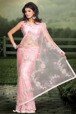 Light Pink Red saree